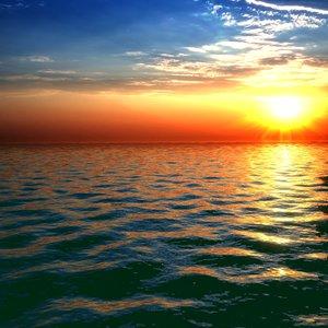 3D dawn sea water