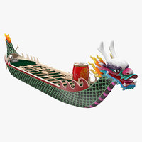 colourful dragon boat 3D model