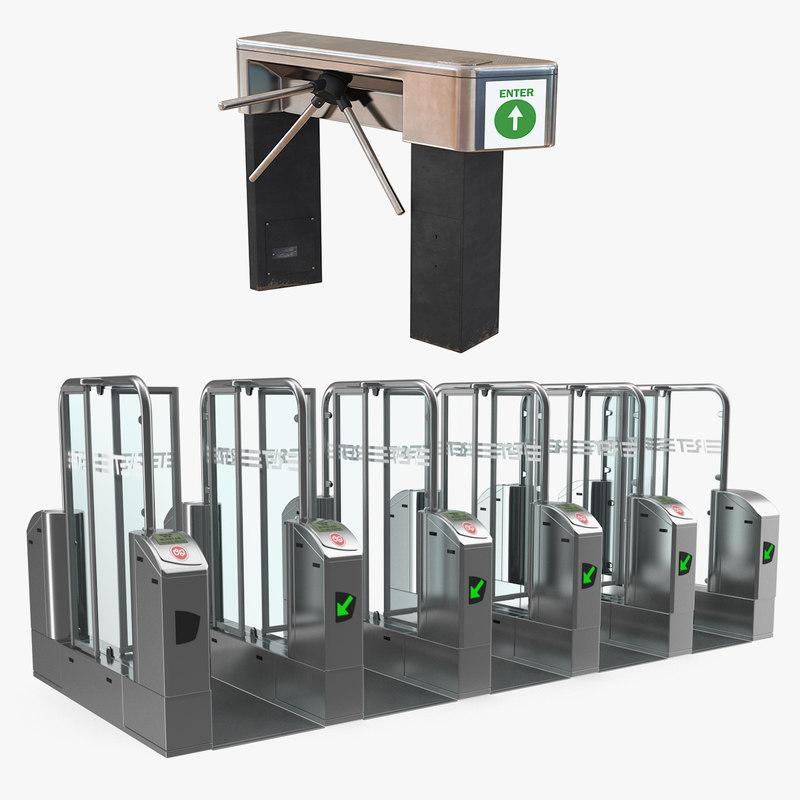 turnstiles access passage 3D