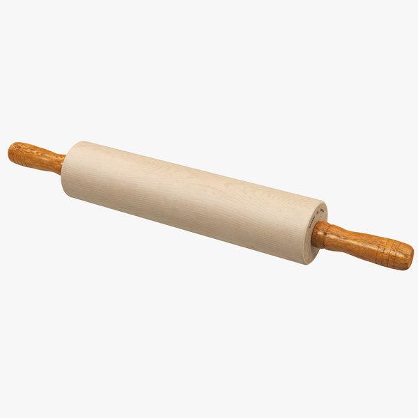 3D wooden rolling pin wood model