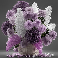 general bouquet flowers basket 3D model