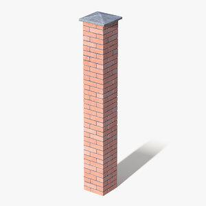 3D brick pillar column