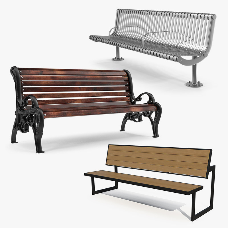Street Benches 3D Models Collection