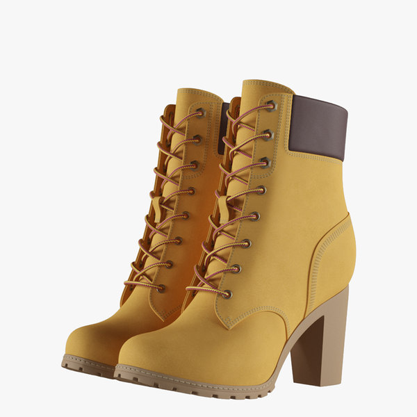 3D womens 6-inch yellow boots model