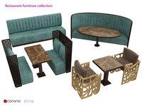 3D armchair restaurant bench