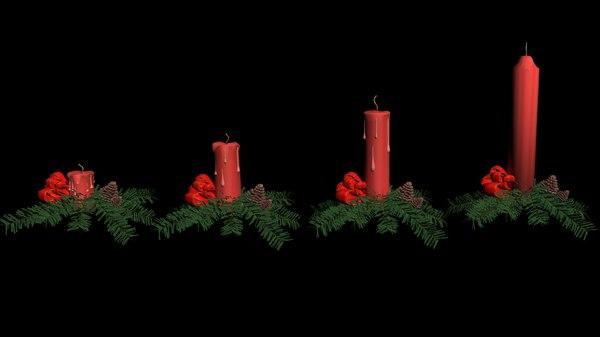 candles christmas set 3D model