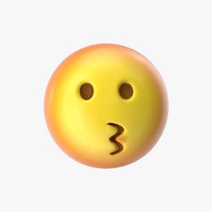 emoji 16 kissing face 3D model
