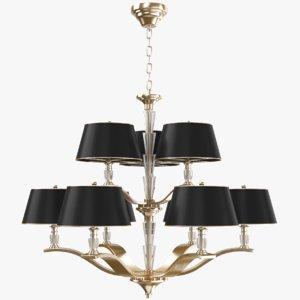 3D chandelier modeled gold