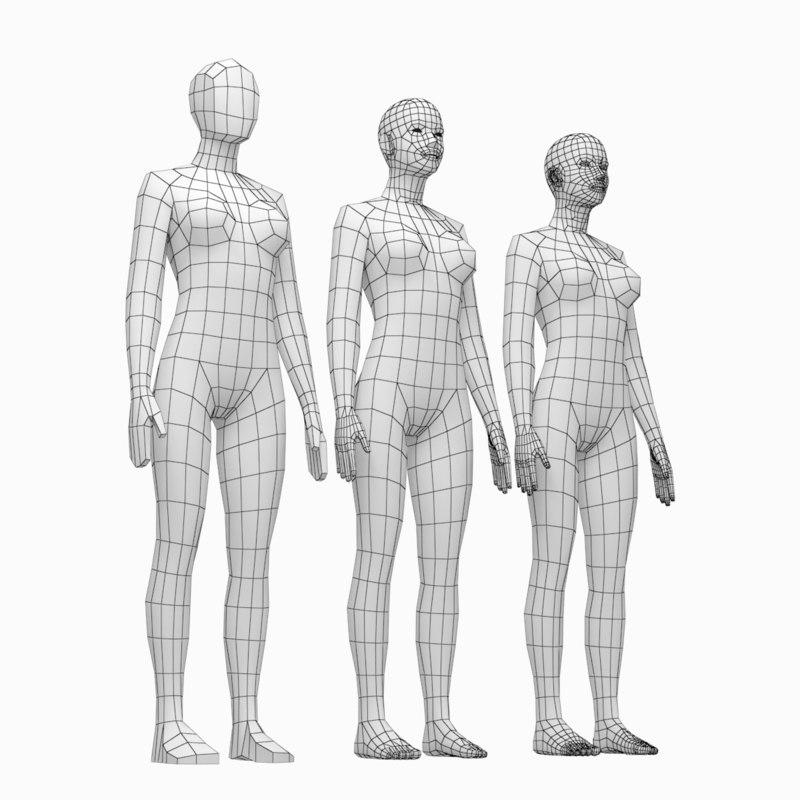 human female body natural 3D