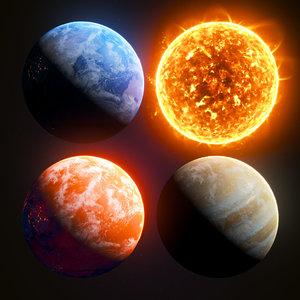 3D model planets sun solar
