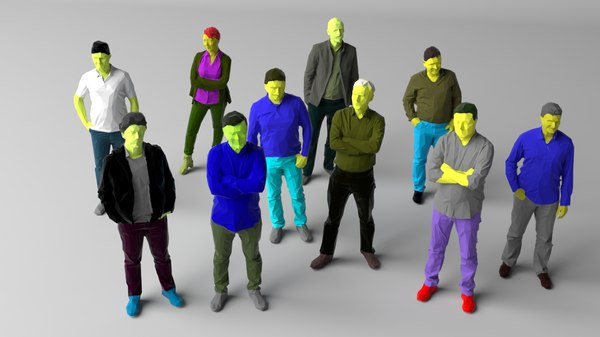 colored 10 people pack 3D model