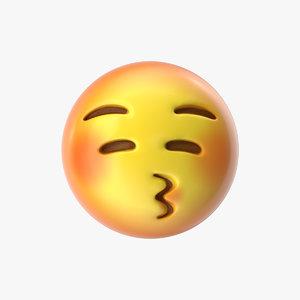 emoji 18 kissing face 3D model