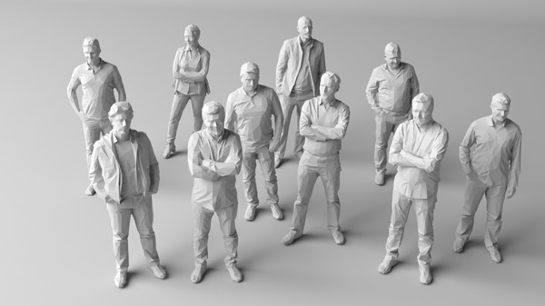 10 people crowds 3D model
