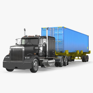 container cargo trailer truck 3D