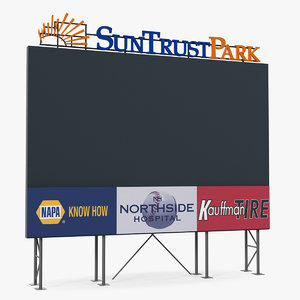 3D model stadium scoreboard board score