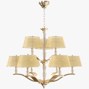 3D chandelier modeled gold