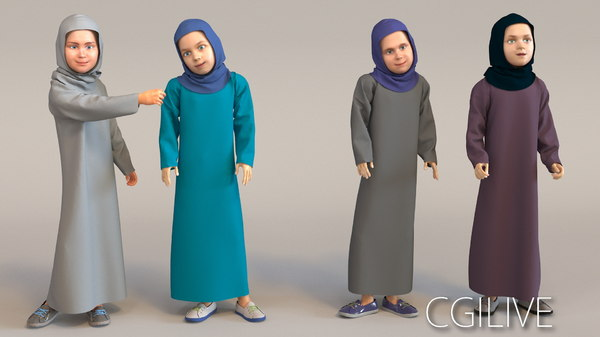 3D characters arab girls real
