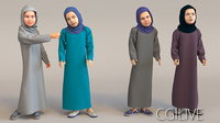 4x Arabic real cloth simulation loop animated girls.