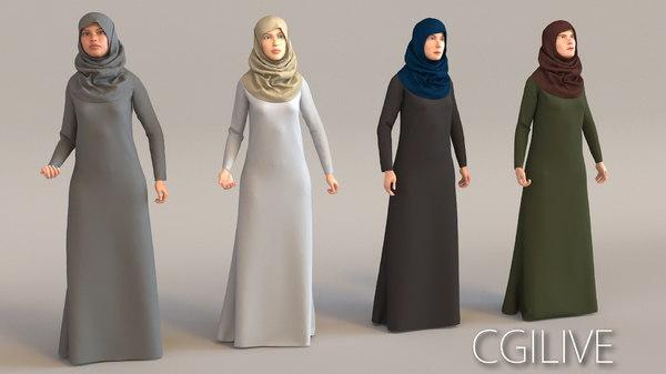 3D arab woman real cloth simulation model