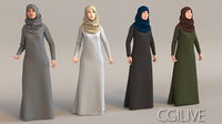 4x Arabic real cloth simulation loop animated woman.