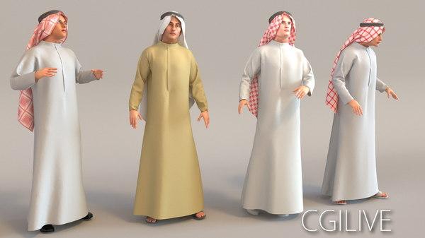 3D model arab man real cloth simulation