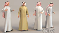 3D model arab man real cloth simulation