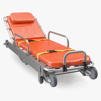 3D folded ambulance stretcher trolley model