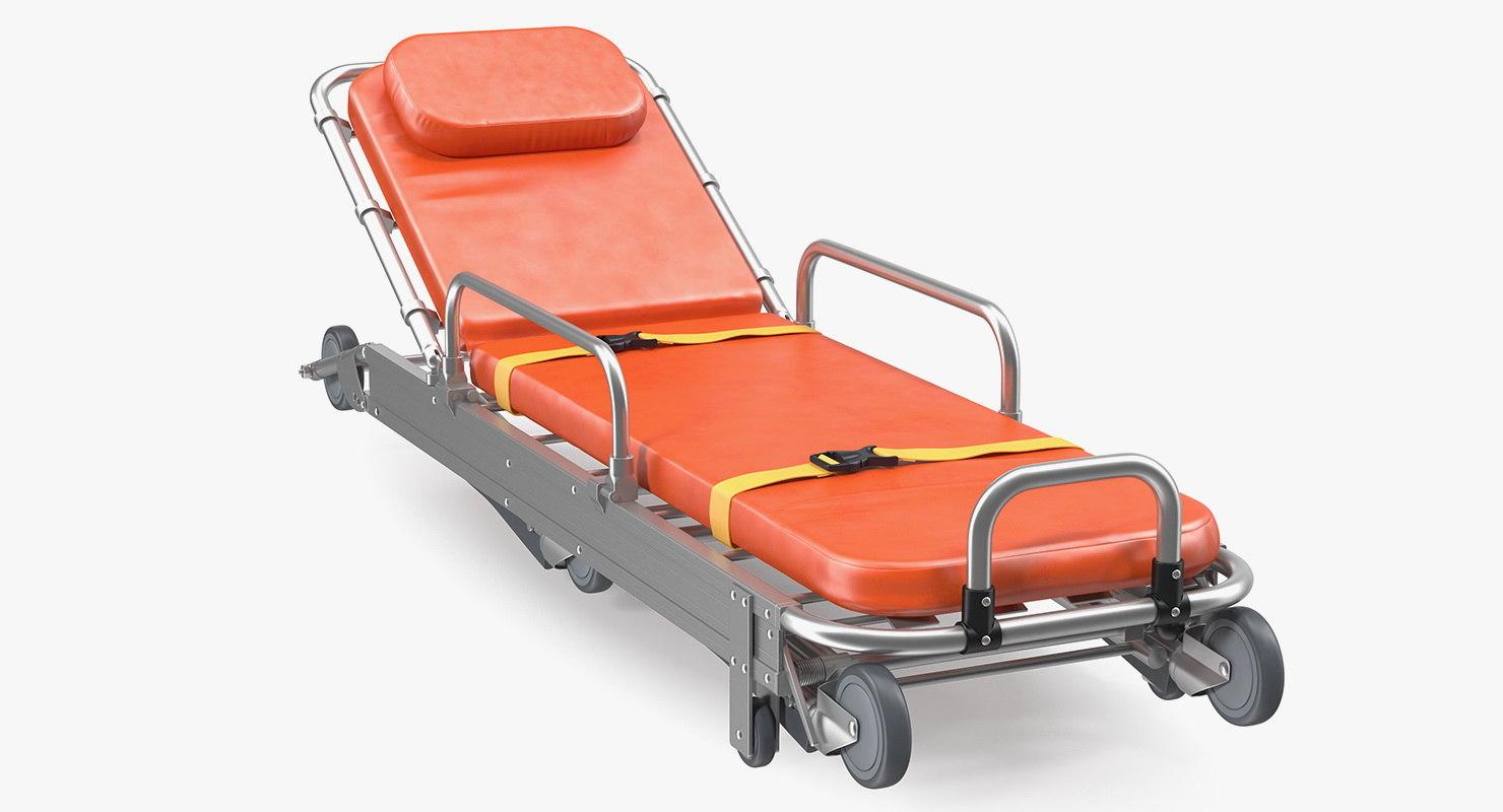 3D folded ambulance stretcher trolley model