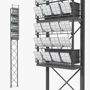 3D stadium lighting poles model