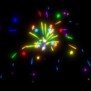 3D model bursting fireworks animation