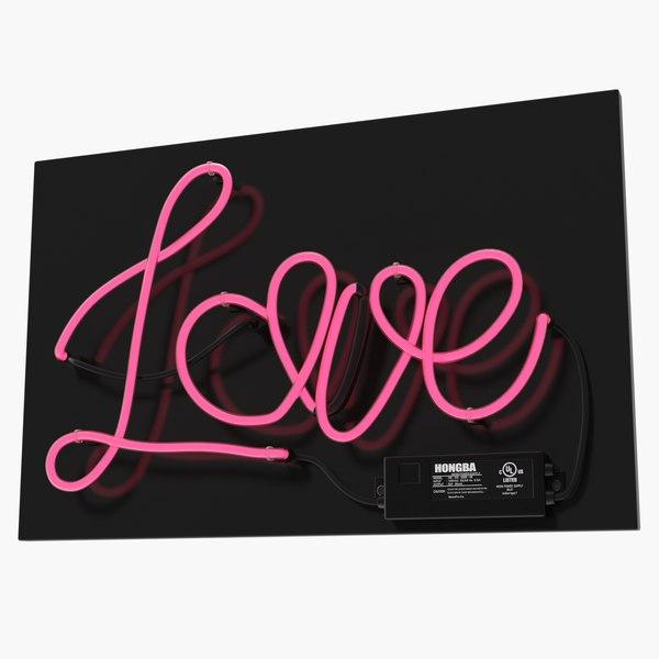 3D model neon sign love