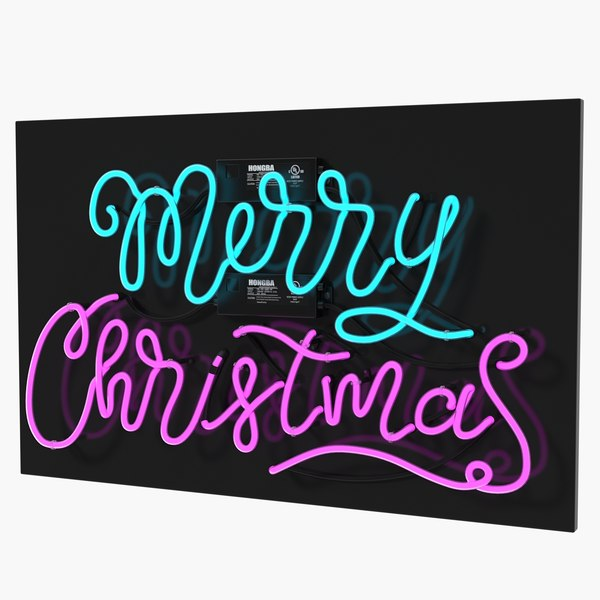 neon sign merry christmas 3D model