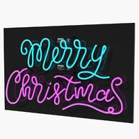 neon sign merry christmas 3D model