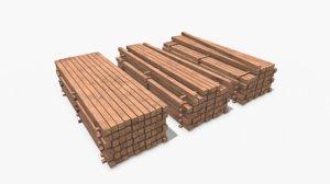 wooden beams model