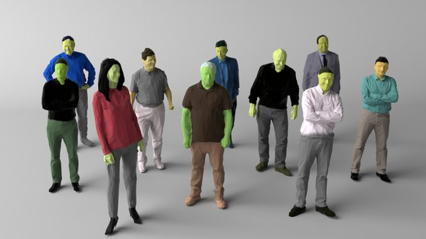 colored 10 people crowds 3D model
