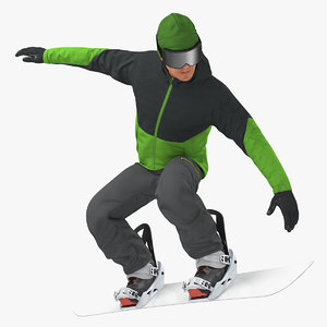 snowboarder jump flight stunt model