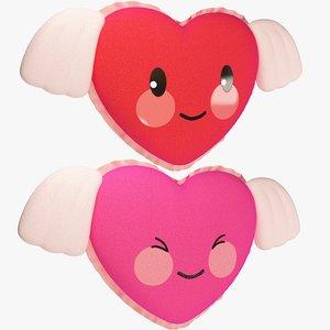 set stuffed hearts wings 3D model