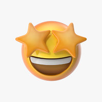 emoji 22 star struck 3D model