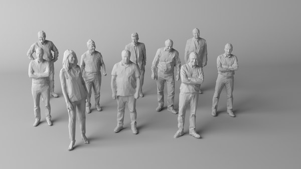 3D 10 people crowds human model