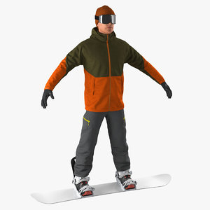 3D snowboarder generic boards snow