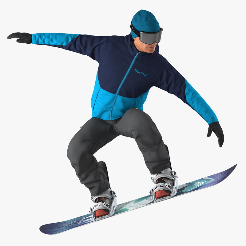 snowboarder jumping boards 3D model