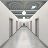 realistic office hallway 3D model