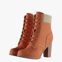 womens 6-inch orange boots 3D model
