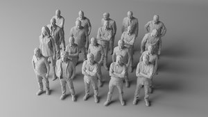 20 people architectural 3D model