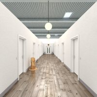 3D realistic office hallway model