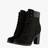 3D model womens 6-inch black boots
