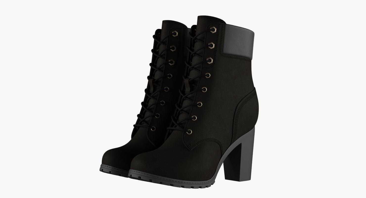 3D model womens 6-inch black boots