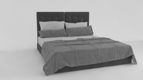 gray white bed interior 3D model