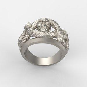 3D ring skull snake model