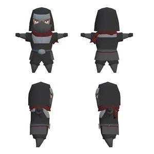 cartoon style ninja character 3D model
